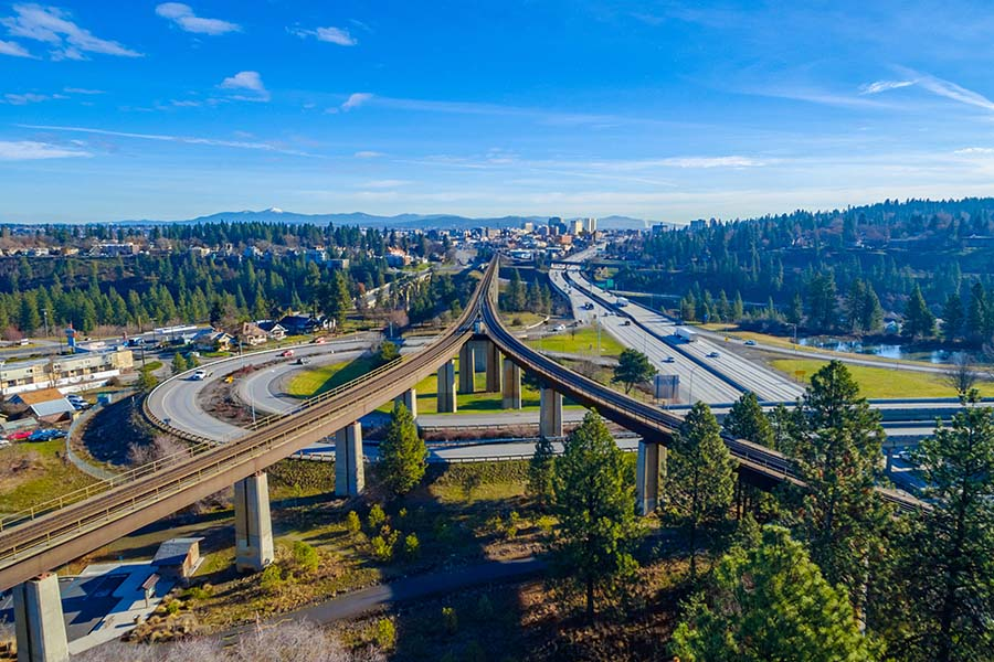Spokane WA - Panoramic View Of Highway And City Of Spokane Washington